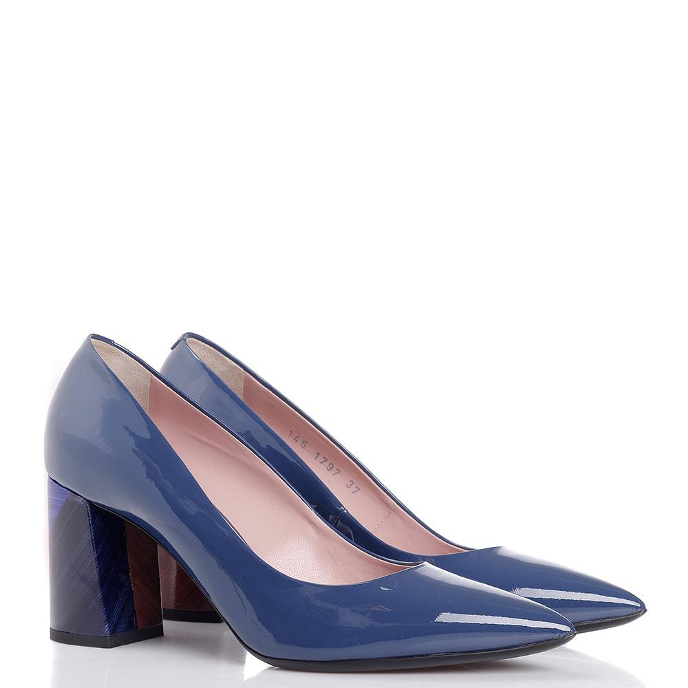 Синие туфли-лодочки Vittorio Virgili из лакированной кожи