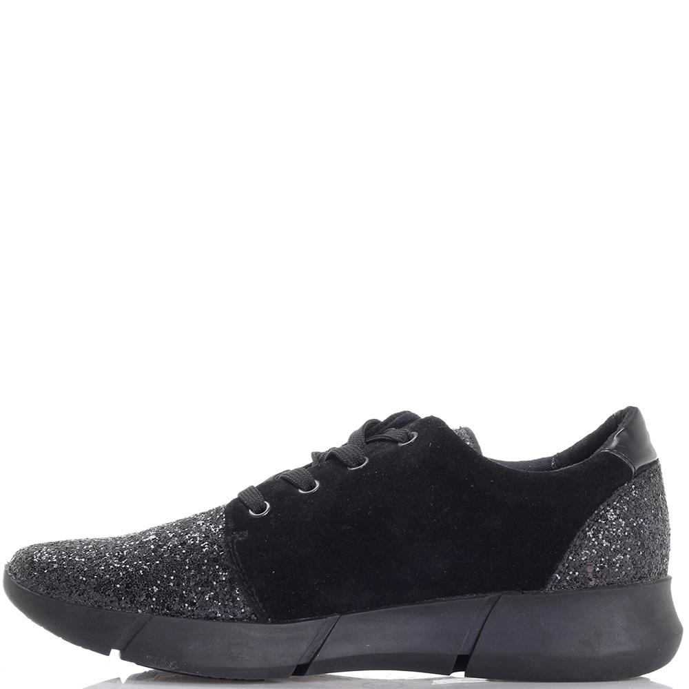 Черные кроссовки Trussardi Jeans с текстильными элементами