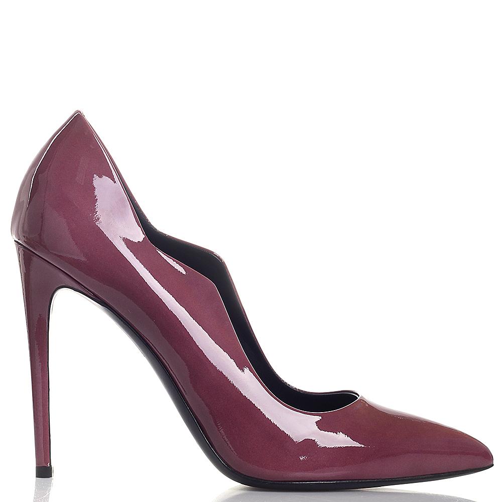 Туфли Gianmarco Lorenzi из лаковой кожи цвета портвейн