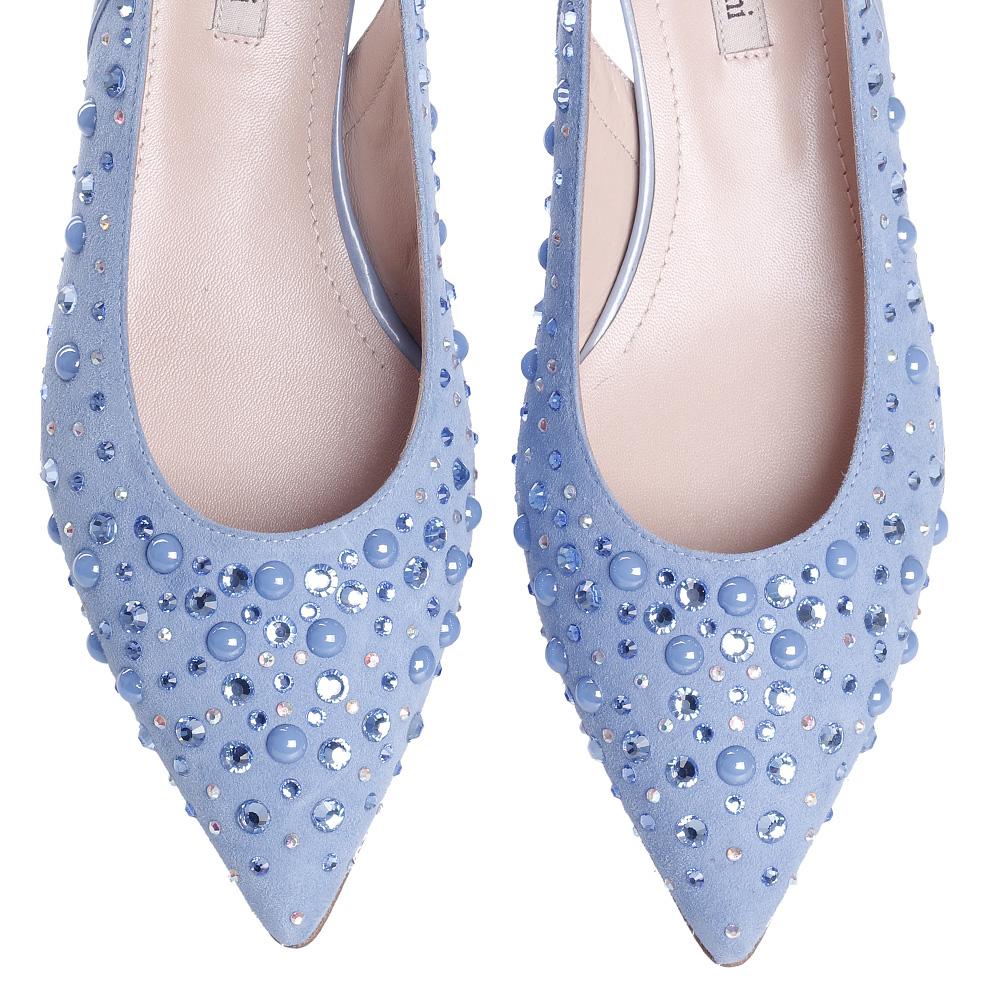 Голубые туфли Marino Fabiani с декором-стразами