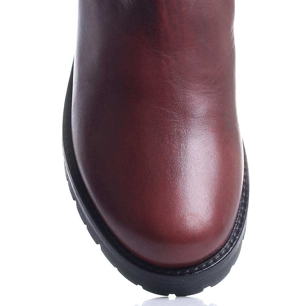 Бордовые кожаные ботинки Mally с декоративной цепочкой