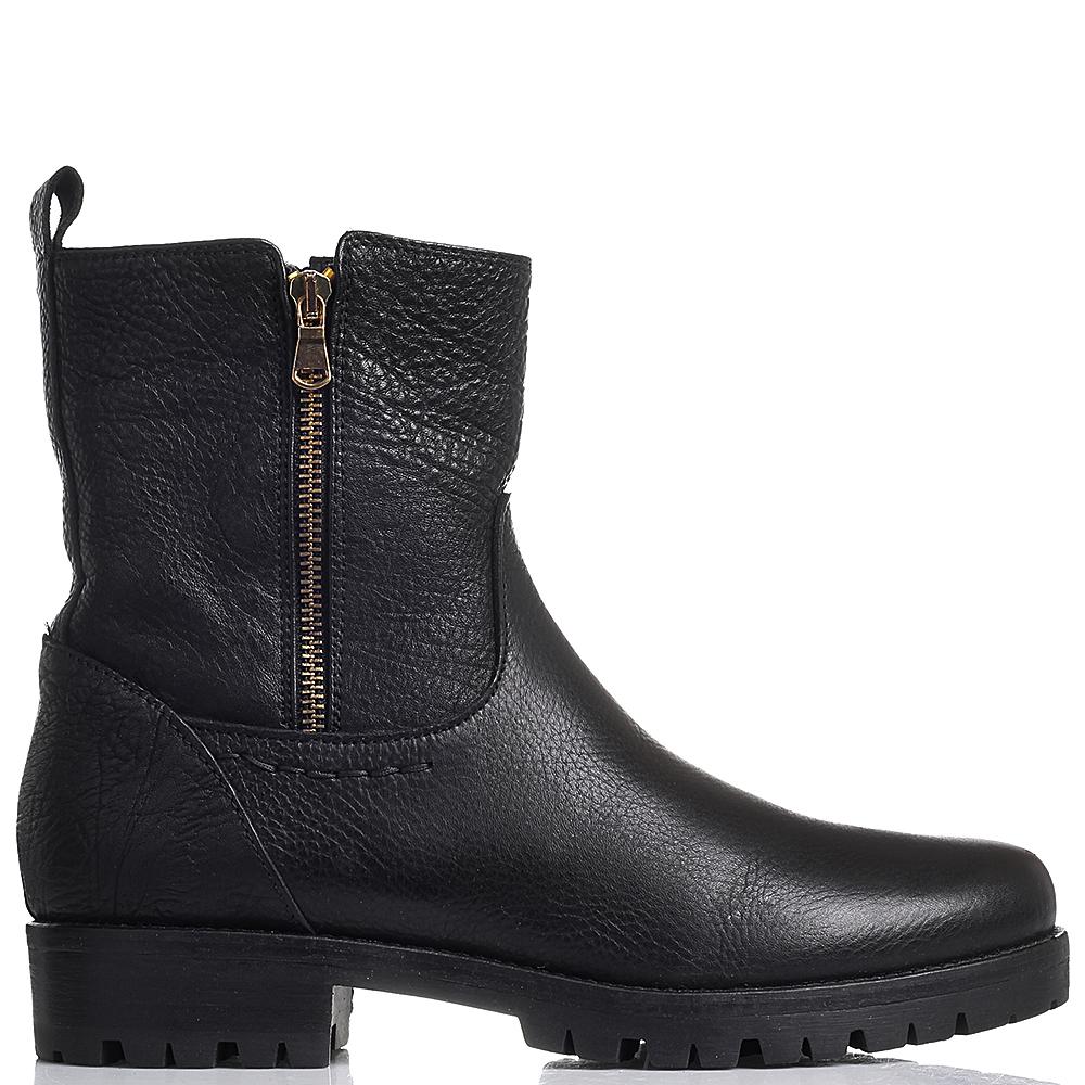 Высокие ботинки Mally черного цвета с двумя молниями