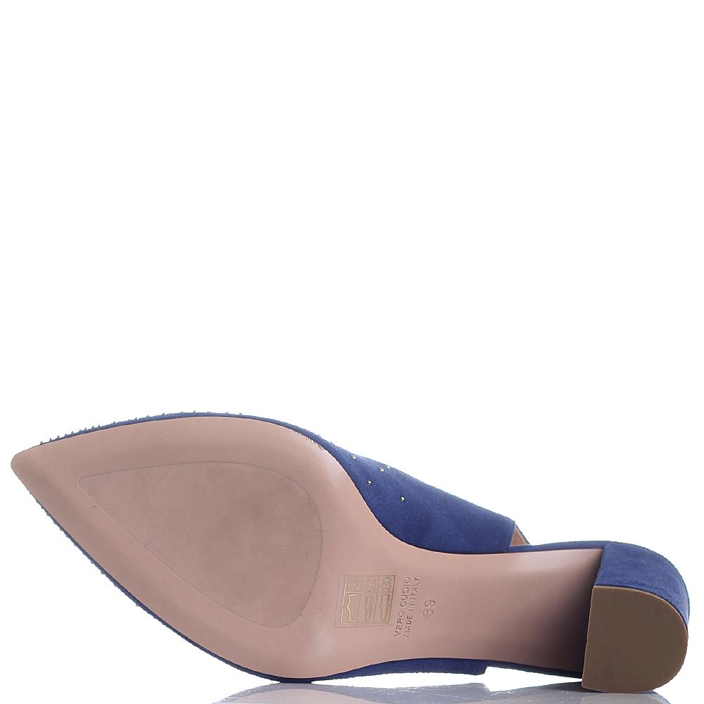 Замшевые туфли-слингбеки Dyva синего цвета с острым носком