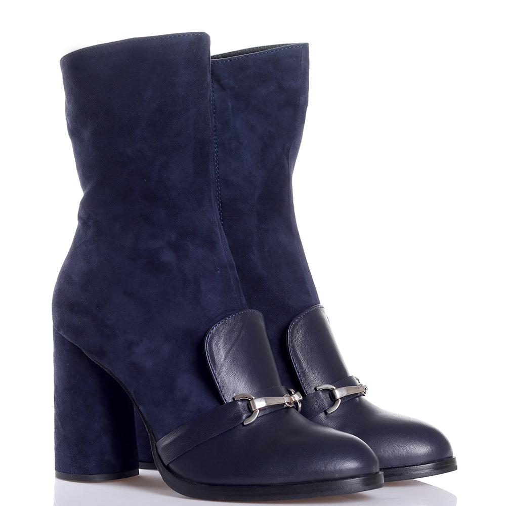 Синие ботинки Helena Soretti из комбинации кожи и замши