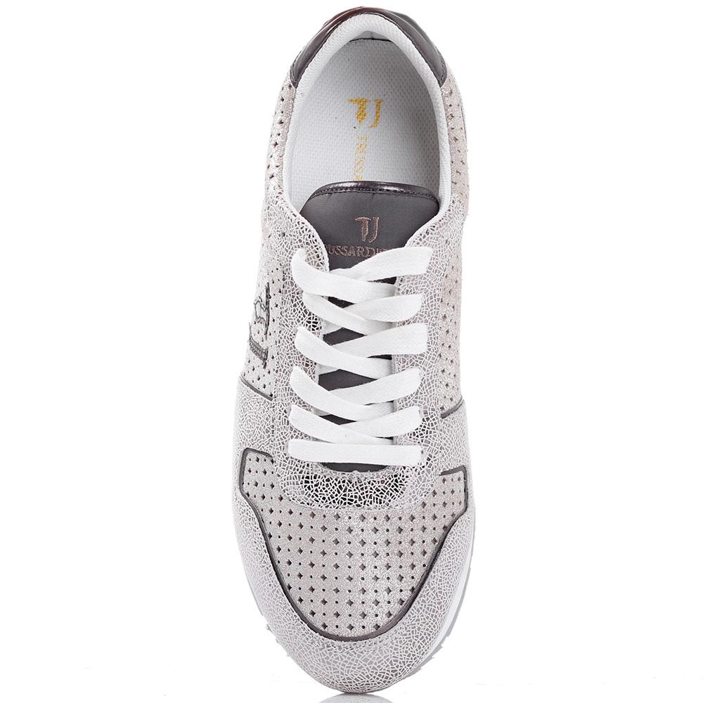 Белые кроссовки Trussardi Jeans из кожи с текстильными элементами