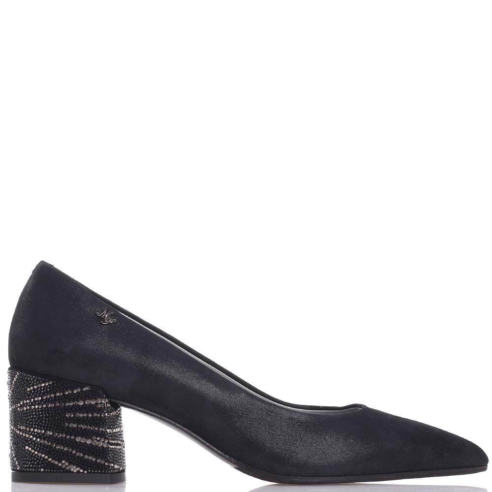 Черные туфли Marino Fabiani со стразами на каблуке