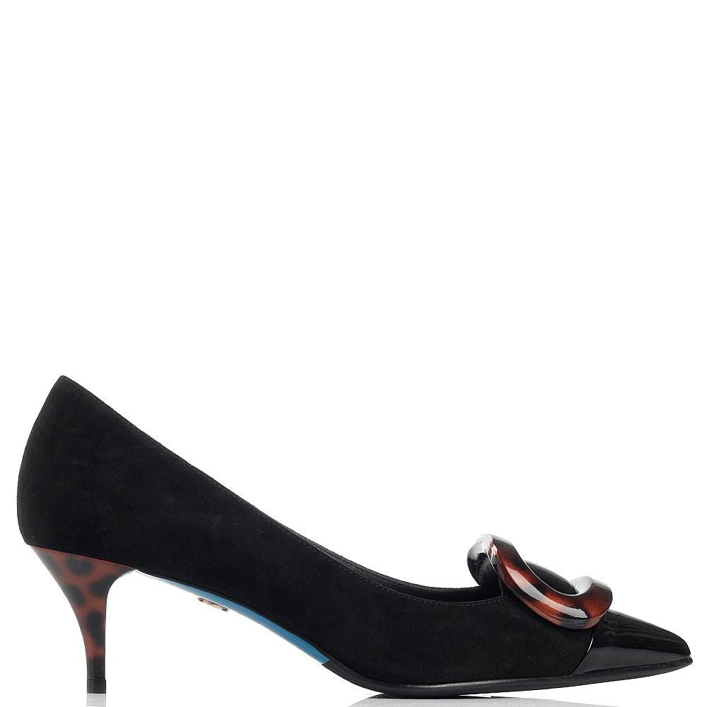Замшевые туфли Loriblu с лаковым носочком