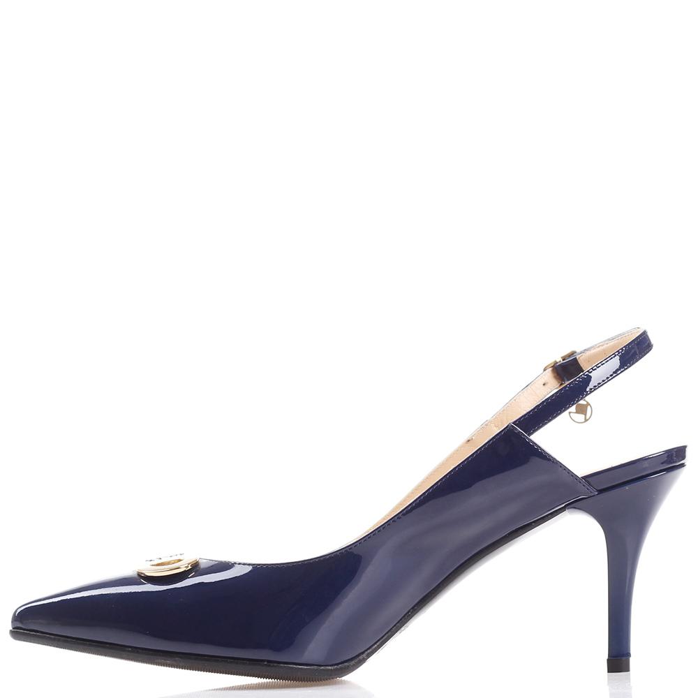 Лаковые туфли-слингбеки GiorgioPiergentili синего цвета