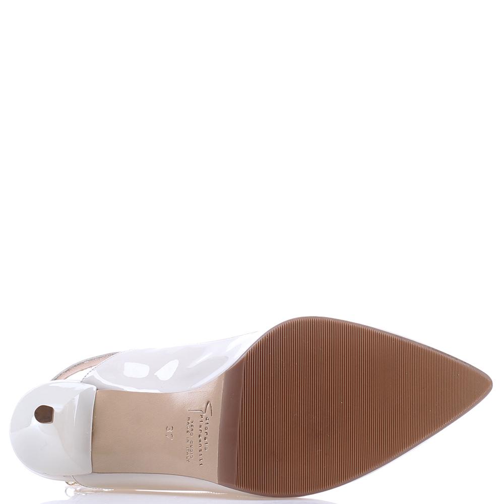 Белые туфли-слингбеки GiorgioPiergentili с острым носком