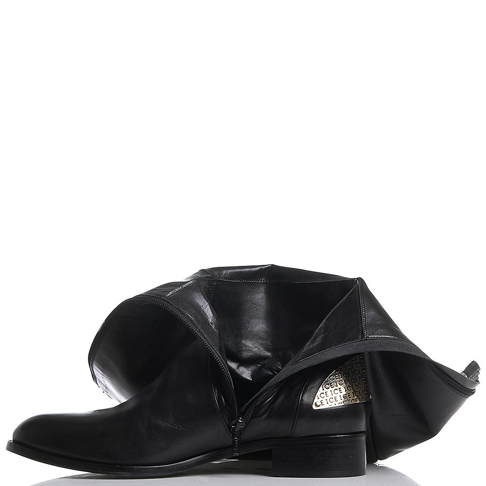 Черные сапоги из гладкой кожи Iceberg с золотистым металлическим декором