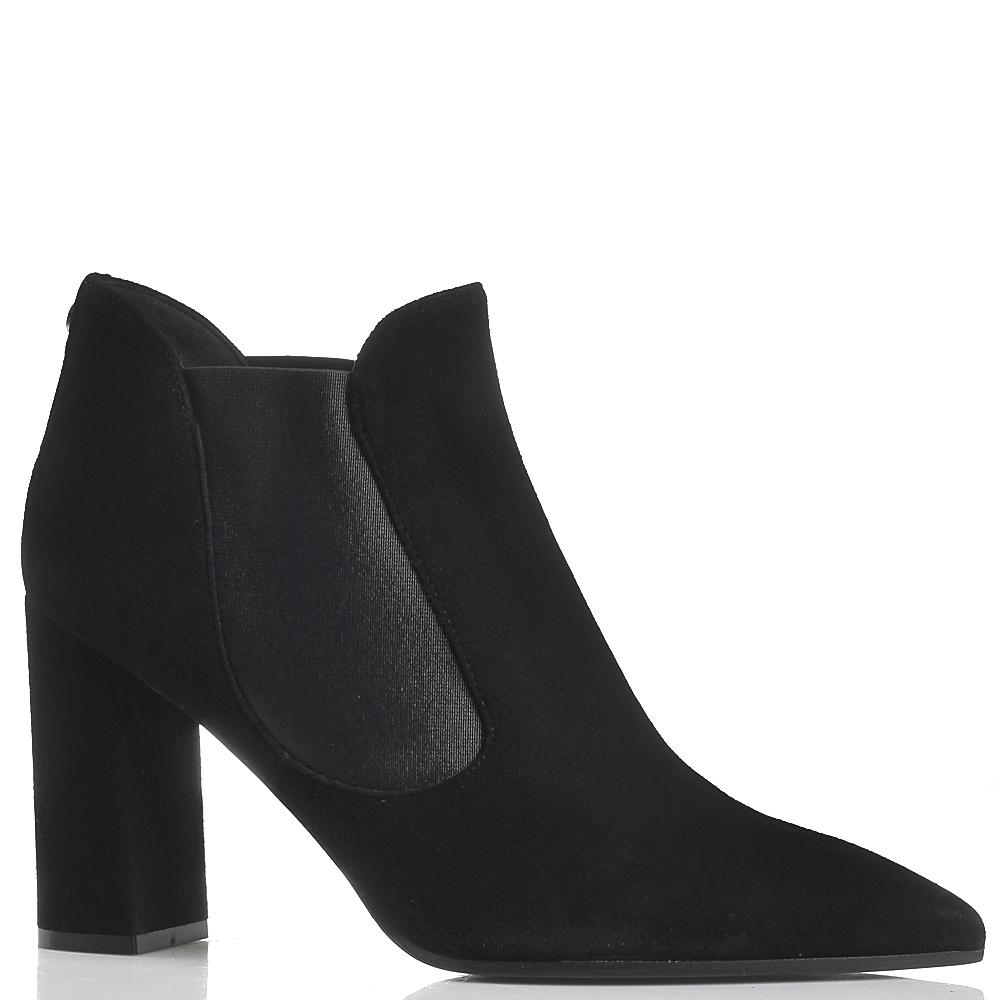 Замшевые челси на толстом каблуке Dyva черного цвета