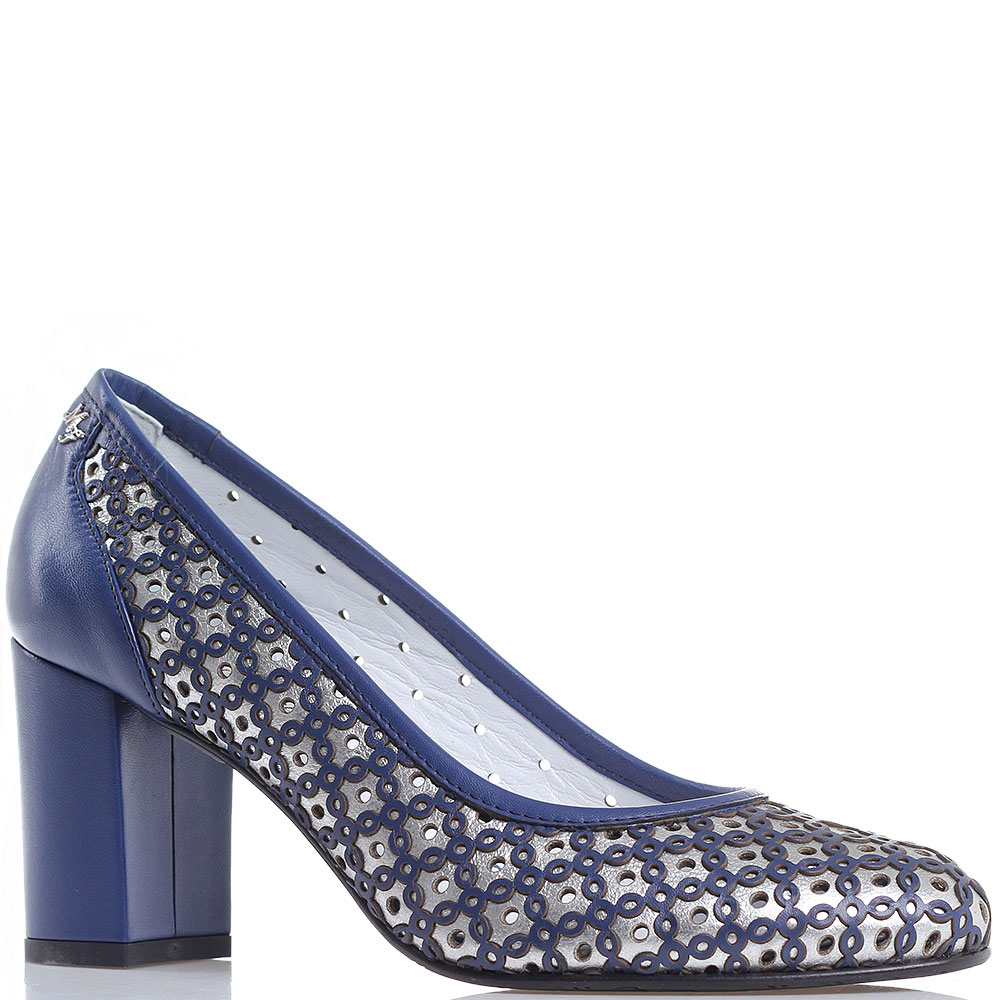 Туфли Marino Fabiani синие с серебристым на толстом каблуке