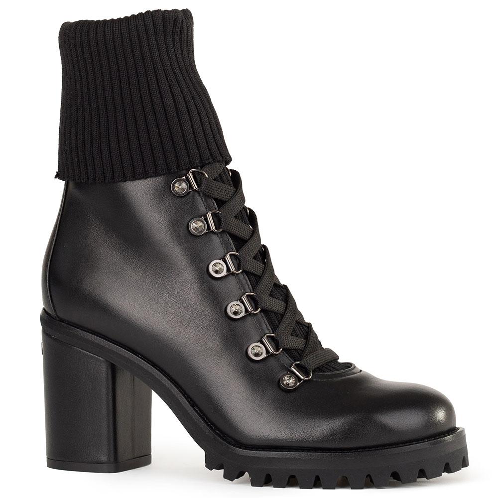 Черные ботинки Le Silla на каблуке с текстильным чулком