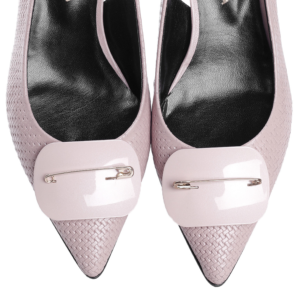 Розовые слингбеки Fabio Di Luna с тиснением на коже