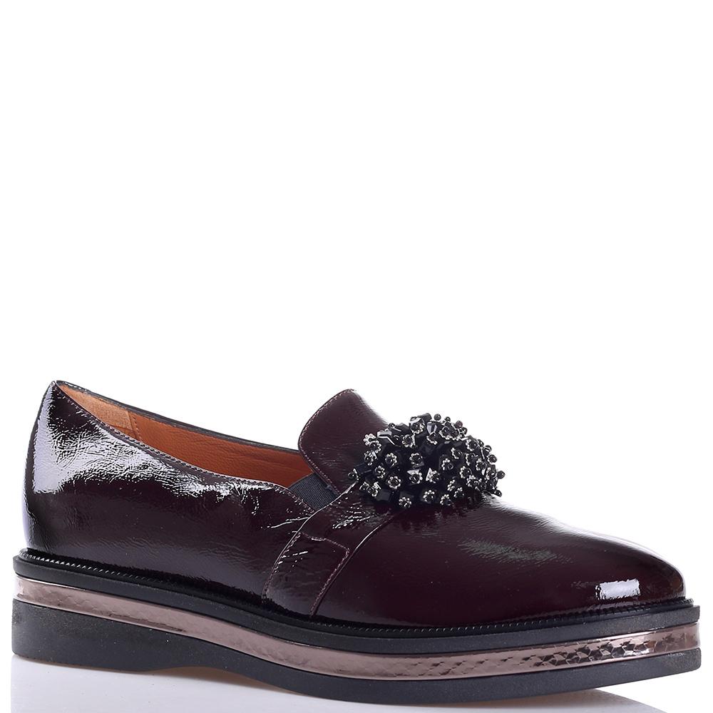 Бордовые туфли Mot-Cle с декором-бесером