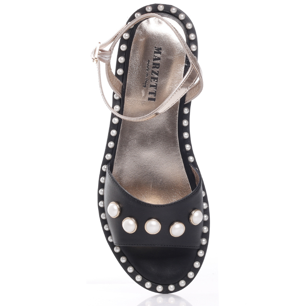 Черные сандалии Marzetti с декором-бусинами