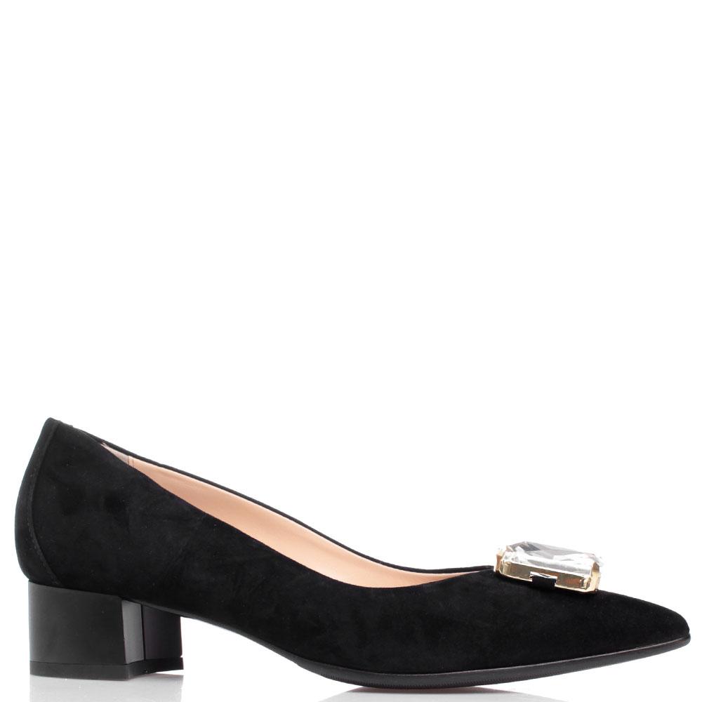 Черные туфли Fabio Di Luna с крупным камнем на носке