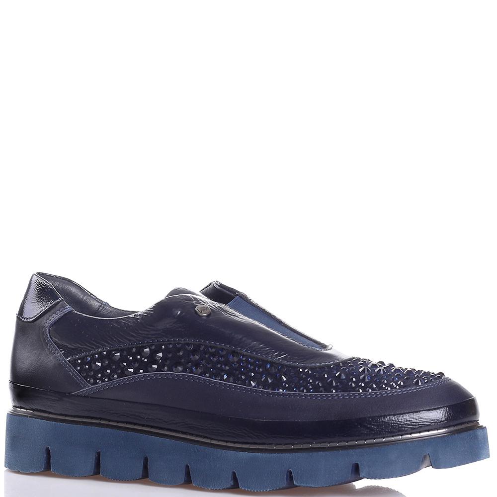 Синие туфли Lab Milano с декором-стразами
