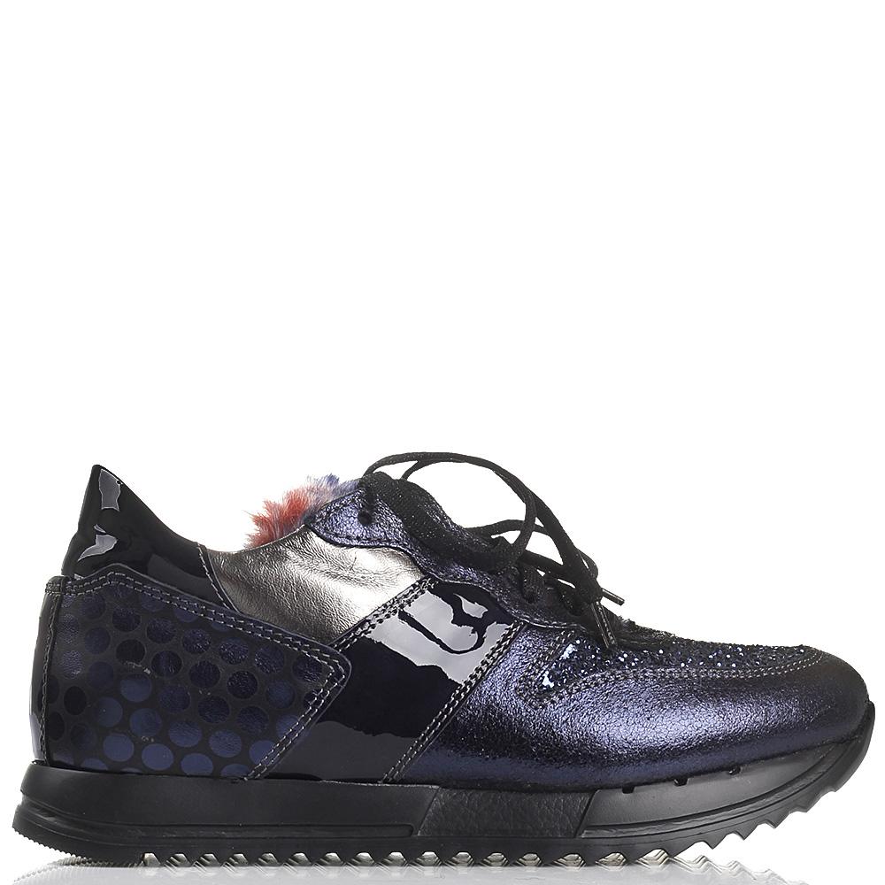 Кроссовки NoClaim синего цвета из кожи с разной обработкой