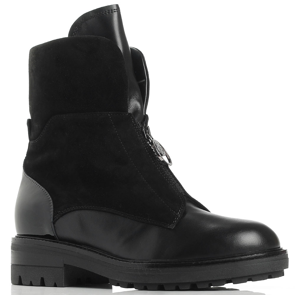 Черные ботинки Giovanni Fabiani из комбинации кожи и замши