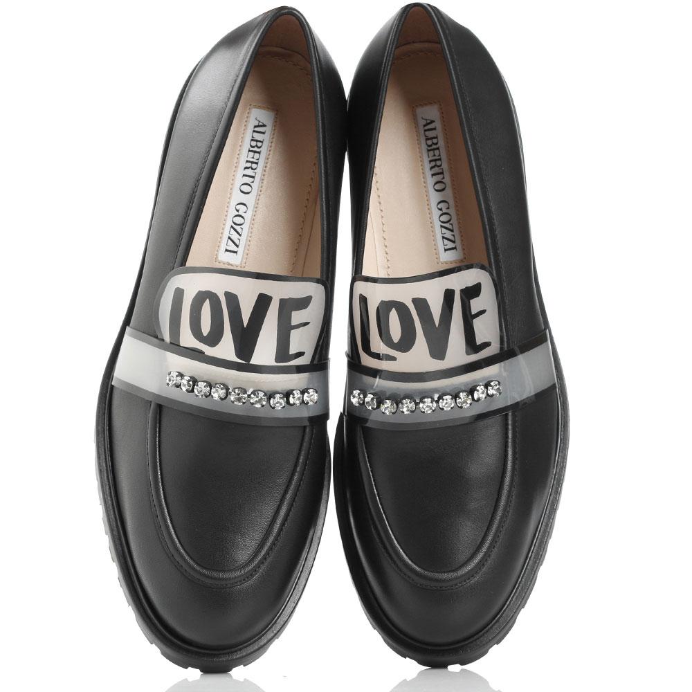 Туфли-лоферы Alberto Gozzi черные с принтом