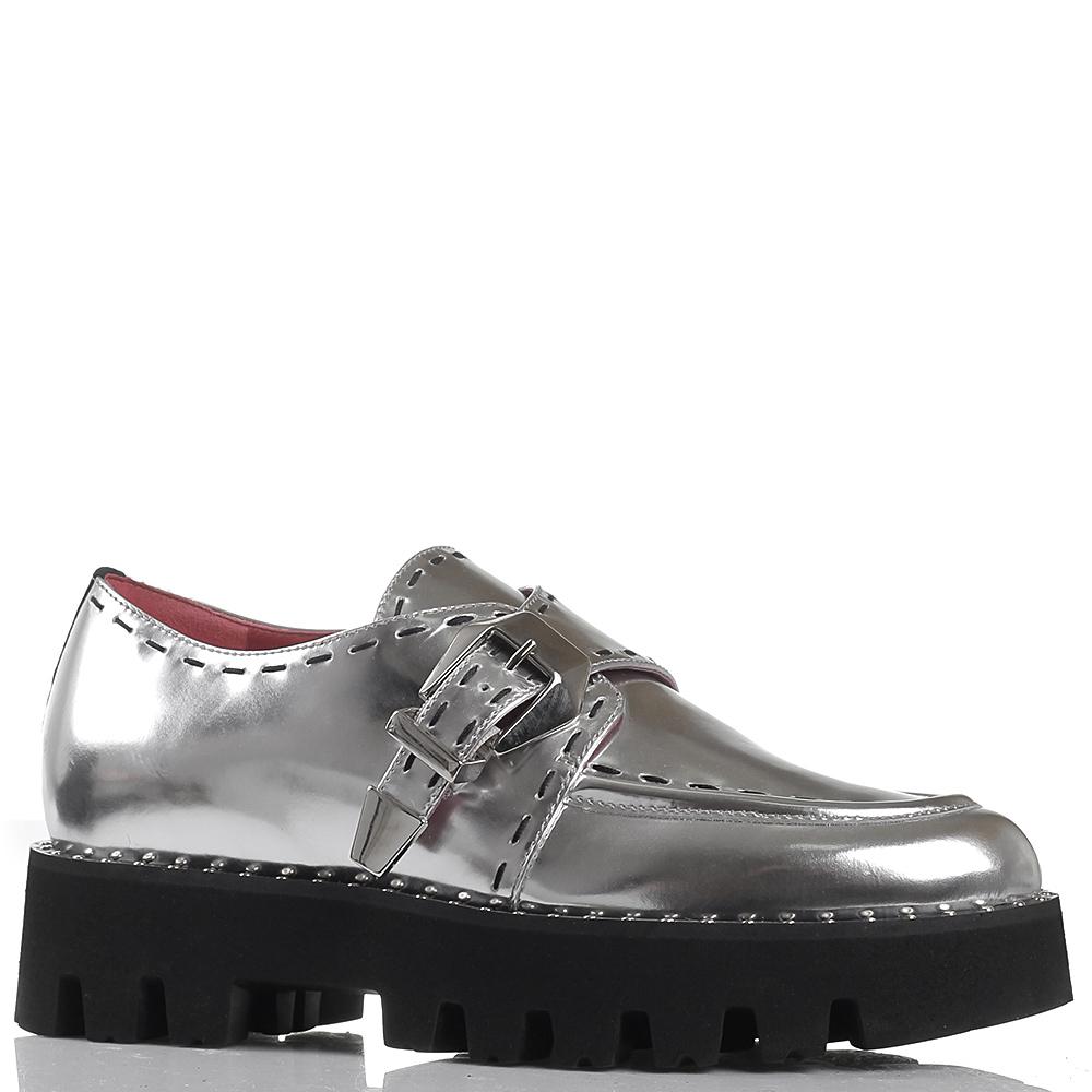 Кожаные туфли Alberto Gozzi серебристого цвета с металлическим блеском