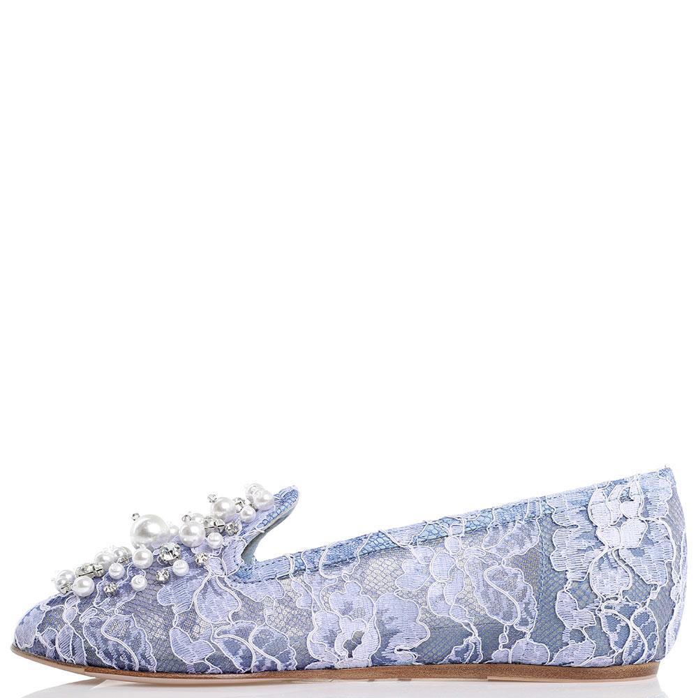 Кружевные балетки Le Silla голубого цвета декорированные камнями и бусинами
