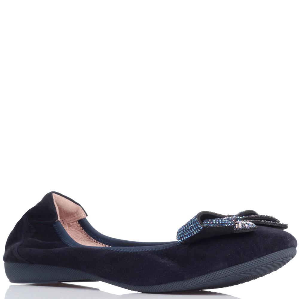Темно-синие балетки Gianni Renzi Miss Ballerina со стразами