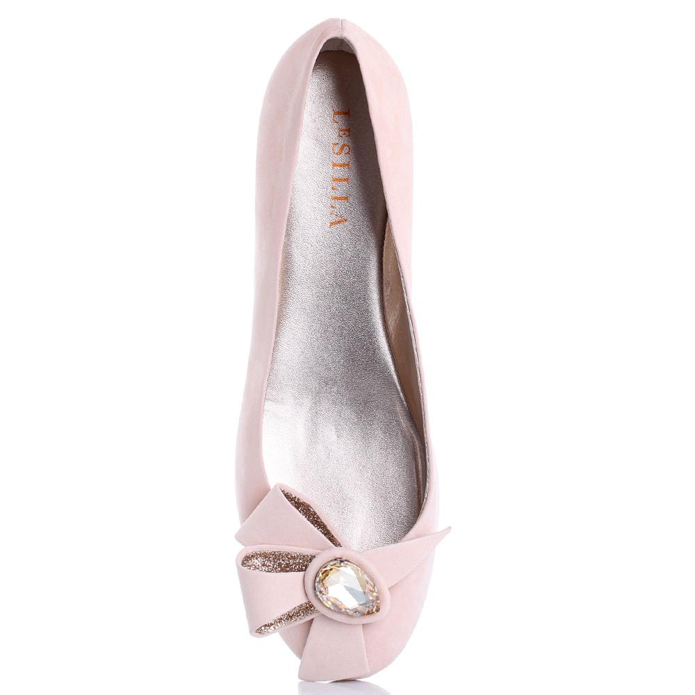 Розовые балетки Le Silla со скрытой танкеткой и декором-бантом