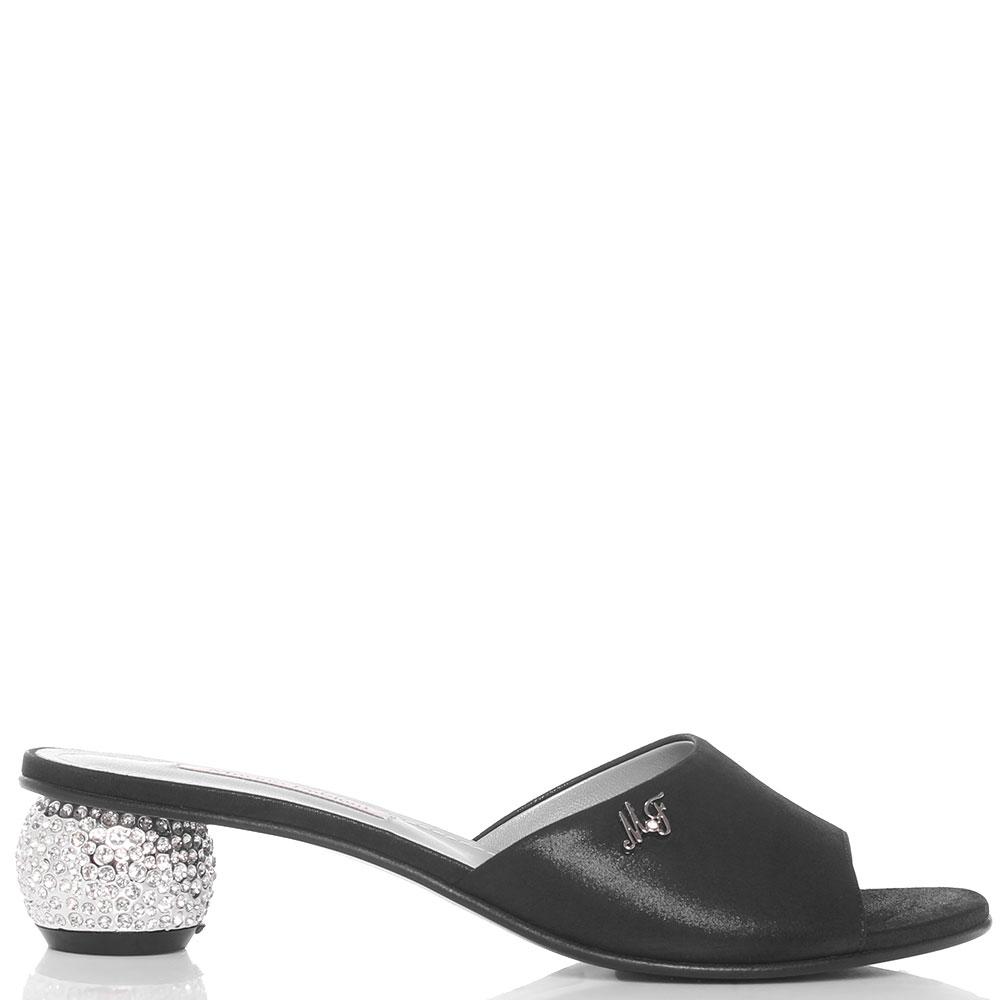 Мюли Marino Fabiani черного цвета со стразами на каблуке