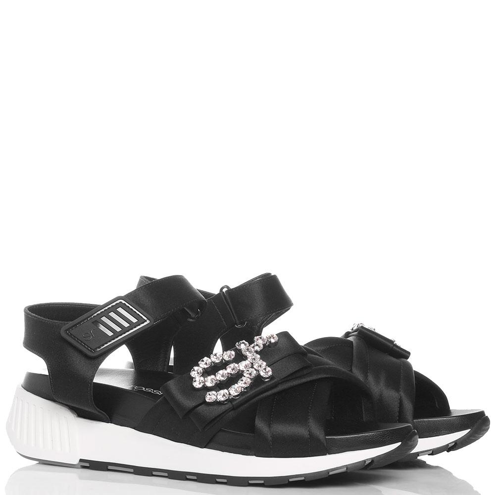 Атласные сандалии Sergio Rossi в черном цвете