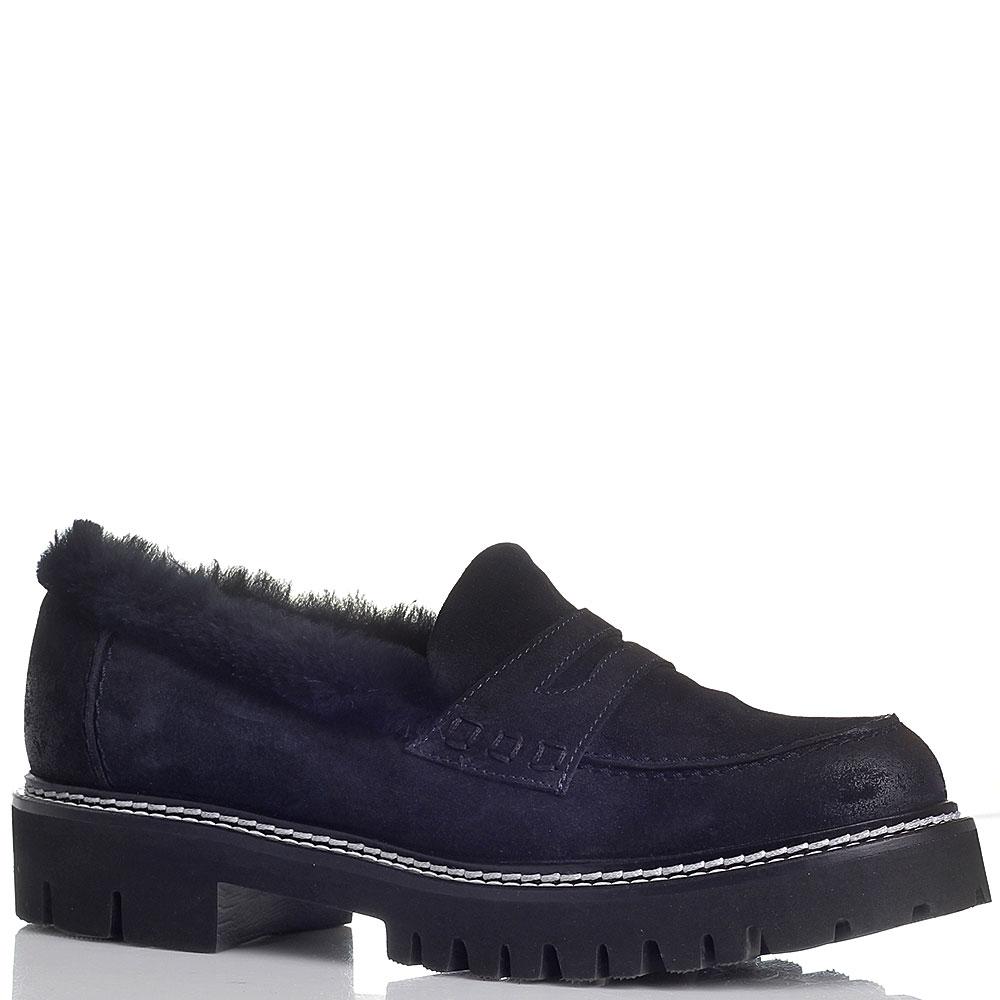 Туфли Fru.It синего цвета из натуральной замши