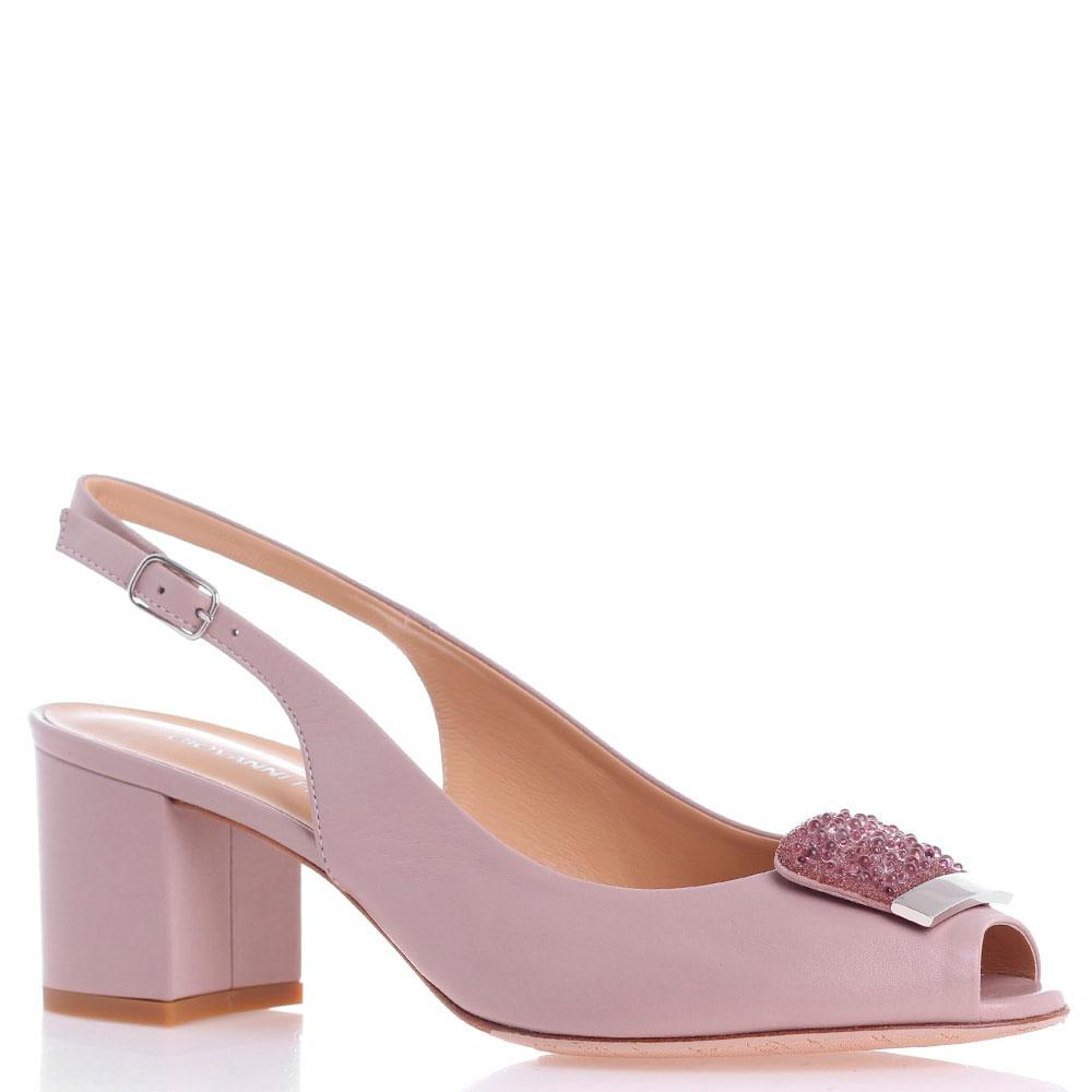Розовые босоножки Giovanni Fabiani на толстом каблуке