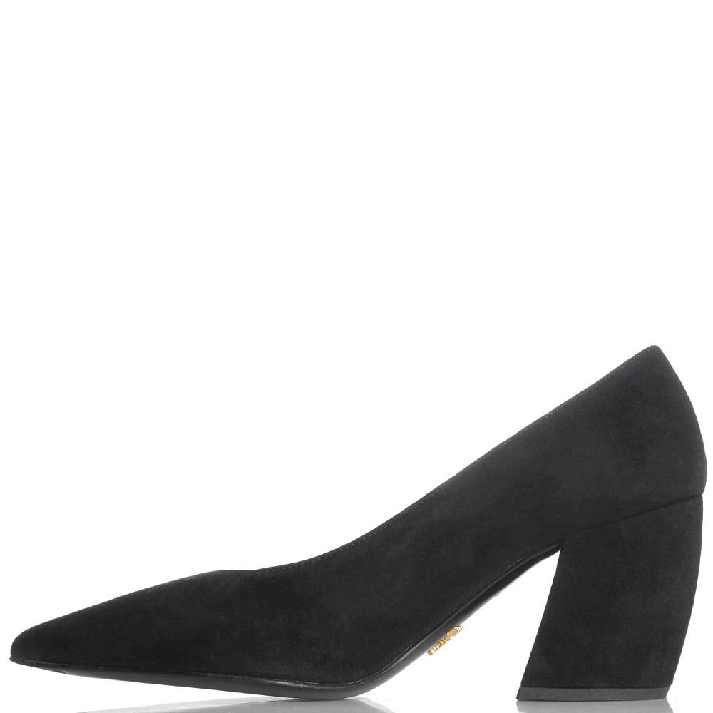 Вечерние черные туфли Prada из натуральной замши