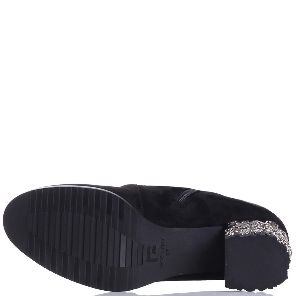 Черные ботфорты Marino Fabiani с декором на каблуке