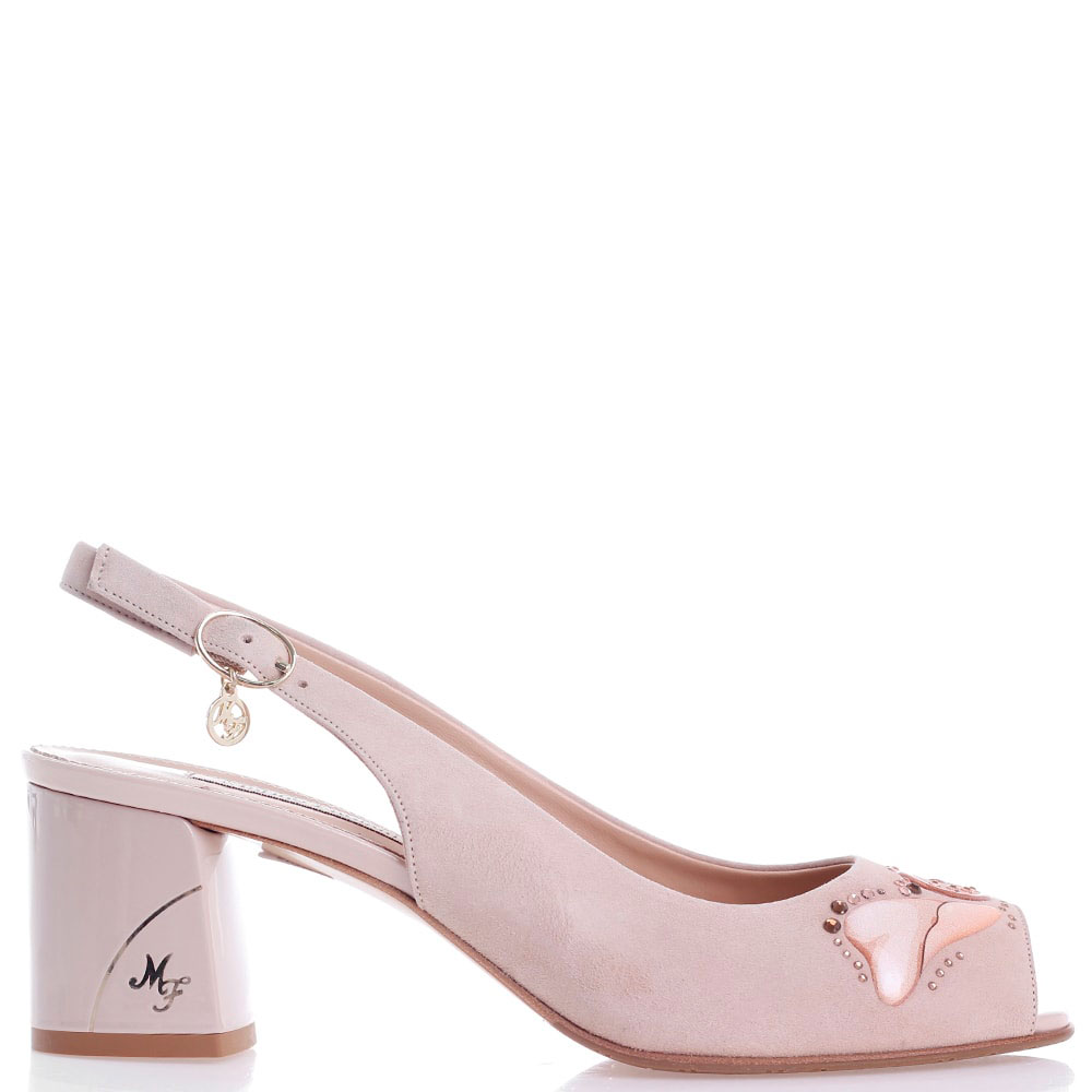 Туфли-слингбэки Marino Fabiani из замши светло-розового цвета