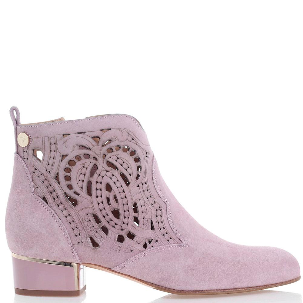 Замшевые ботинки Marino Fabiani с декоративной перфорацией