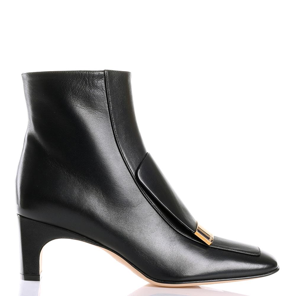 Черные ботильоны Sergio Rossi с золотистым декором на носке
