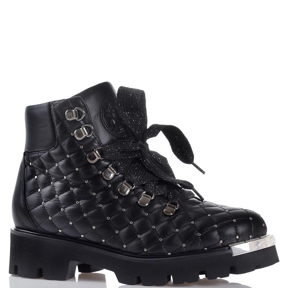 Стеганые ботинки Baldinini с металлическим декором