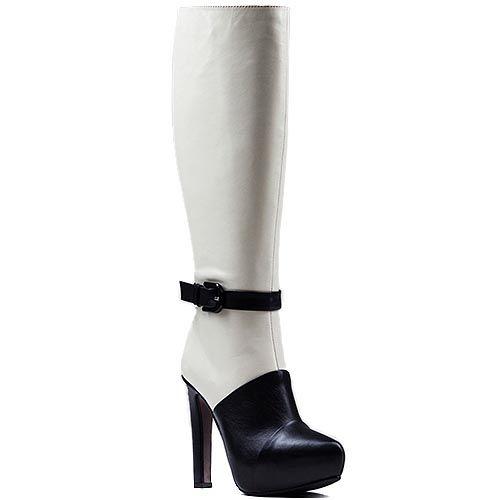 Черно-белые сапоги Modus Vivendi на каблуке и скрытой платформе
