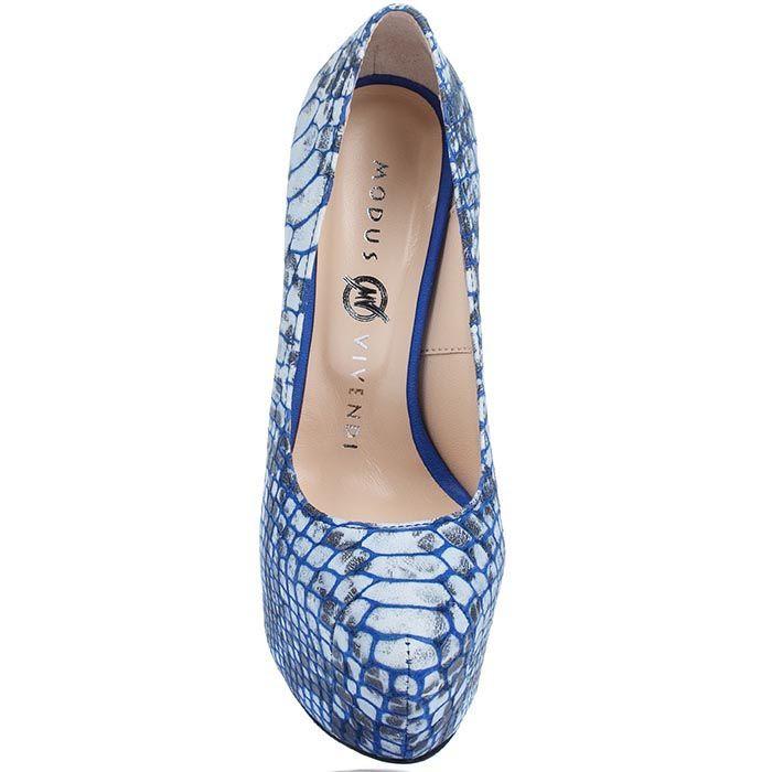 Кожаные туфли Modus Vivendi синего цвета на каблуке и скрытой платформе