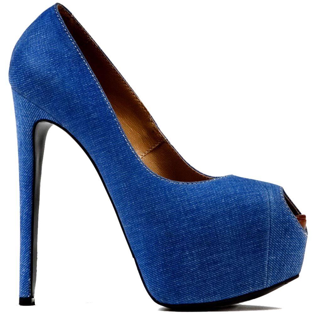 Женские туфли Modus Vivendi с открытым носком голубого цвета на шпильке и скрытой платформе