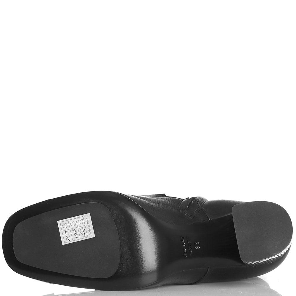 Кожаные ботильоны черного цвета Roberto Festa с декоративной шнуровкой