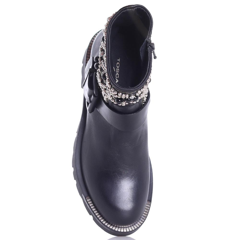 Черные ботинки Tosca Blu декорированные бусинами