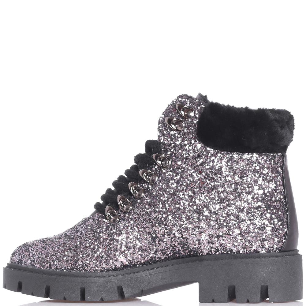 Ботинки Helena Soretti с глиттером серебристого цвета