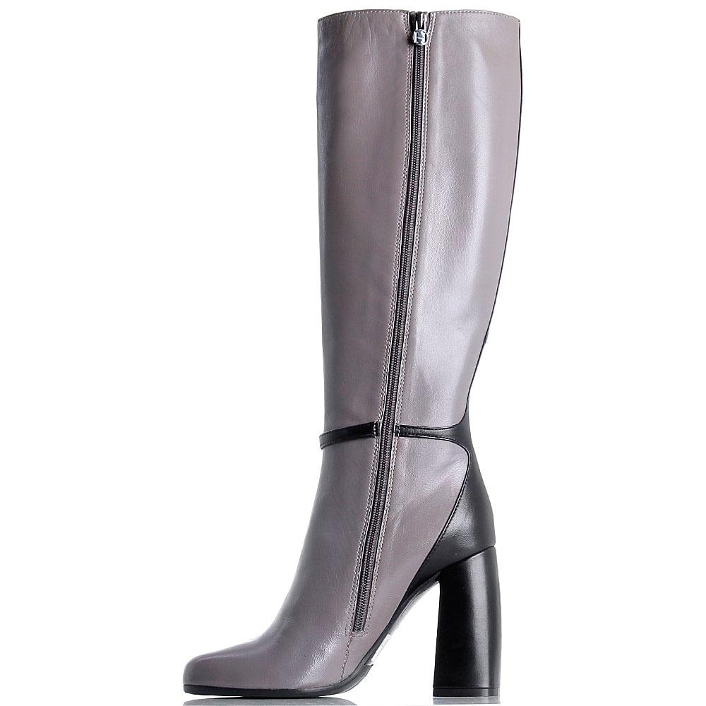 Кожаные сапоги с закругленным носочком Hestia Venezia серые с черным