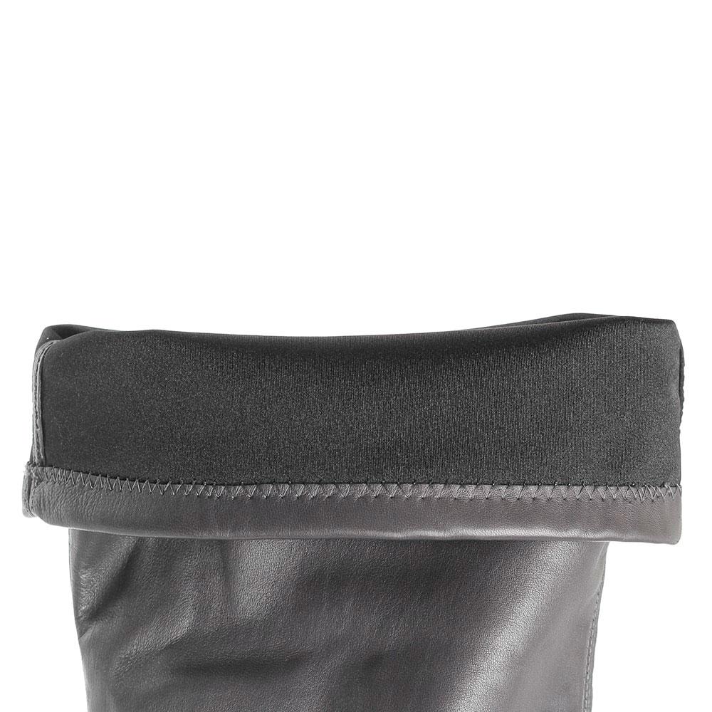 Ботфорты из кожи серого цвета Hestia Venezia декорированные заклепками