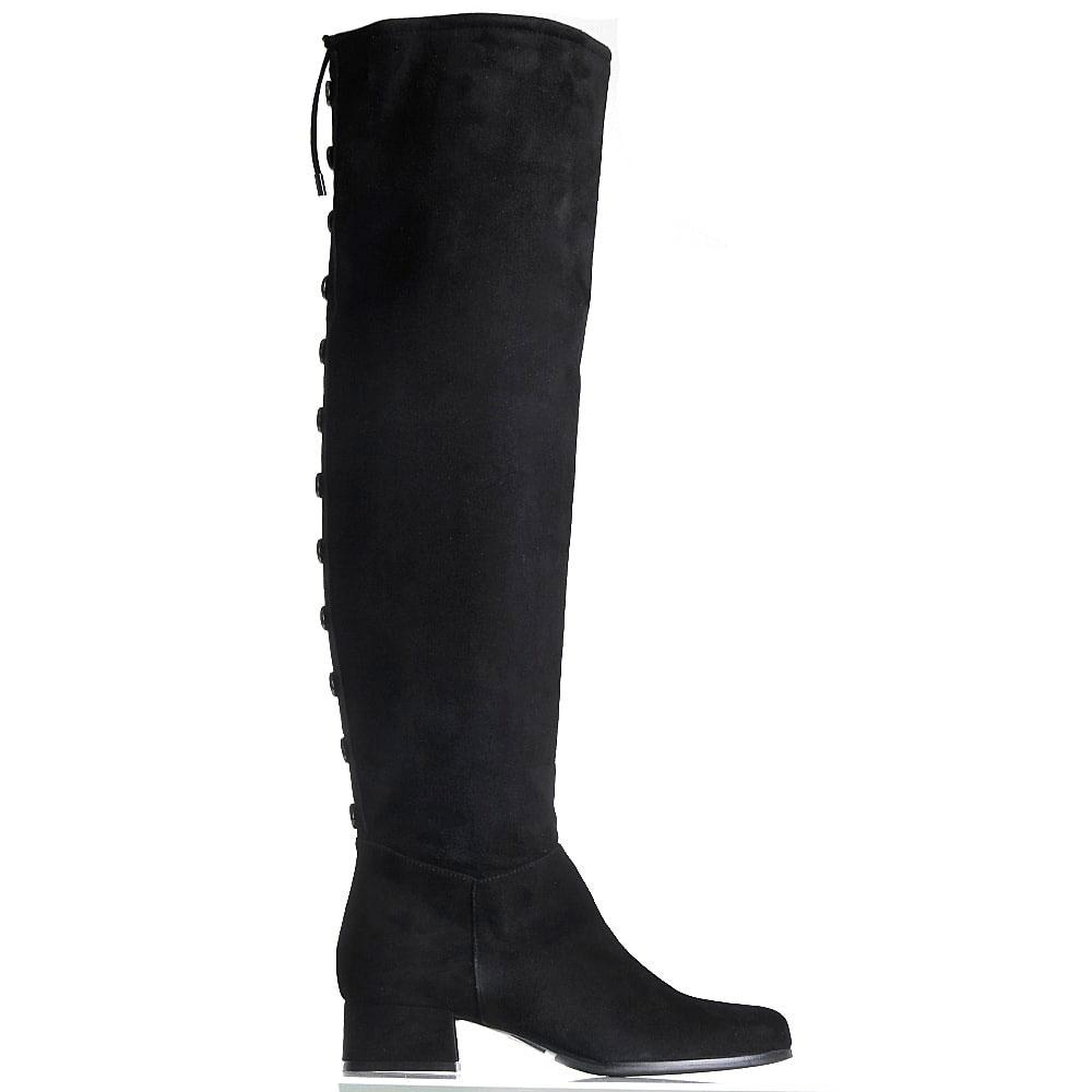 Замшевые черные сапоги Hestia Veneziaна низком каблуке