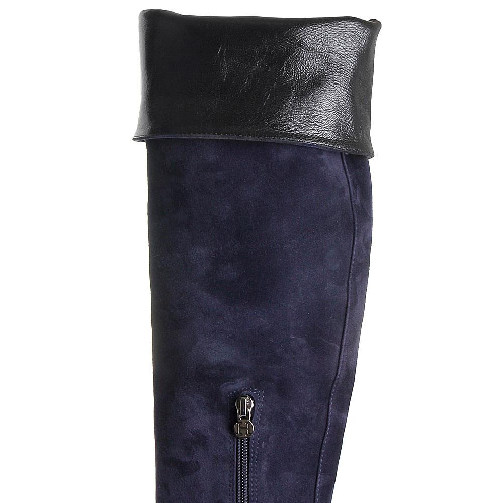 Замшевые ботфорты на толстом каблуке Hestia Venezia синего цвета
