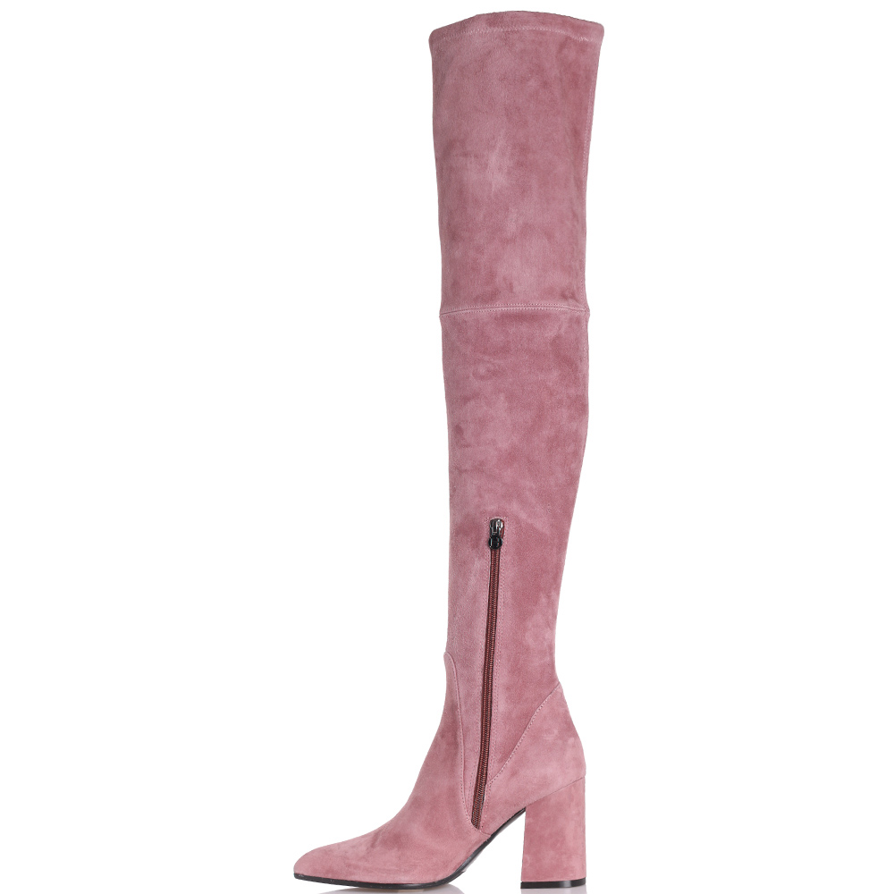 Ботфорты Hestia Venezia из замши розового цвета